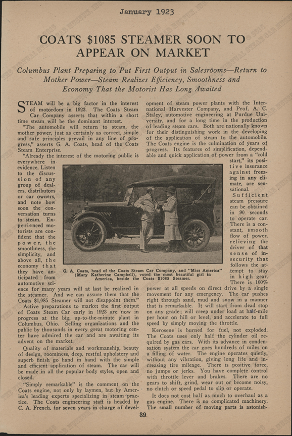 Coats Steam Car Company, January 1923, American Automobile Digest, pp. 39 - 40, Conde Collection