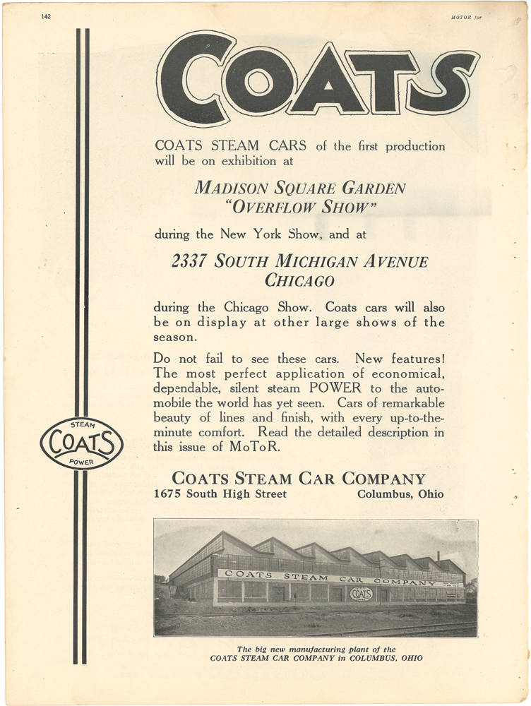 Coats Steam Car January 1923 MOTOR p 142