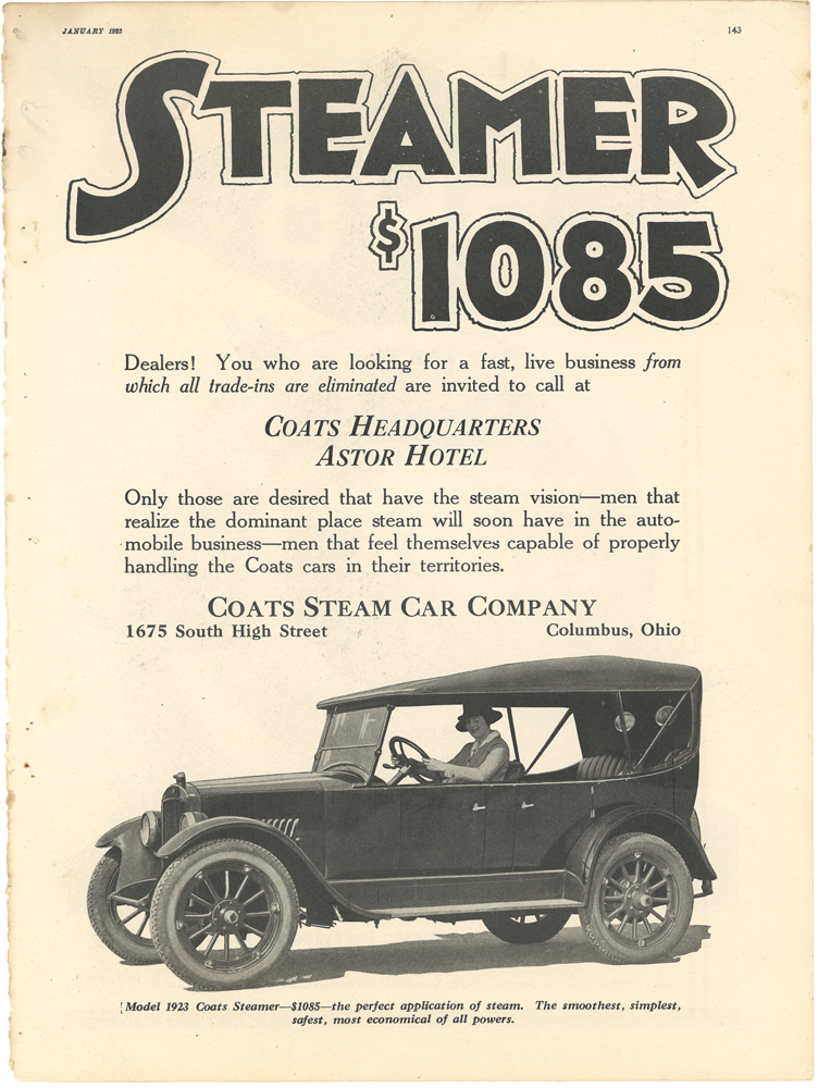 Coats Steam Car January 1923 MOTOR p 143
