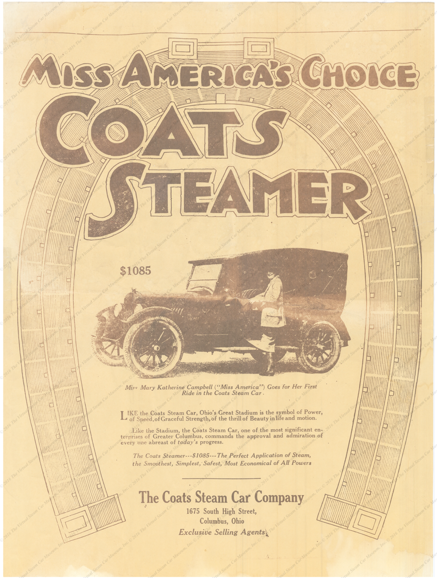 Coats Steam Car Company Poster, Miss America, ca: 1923