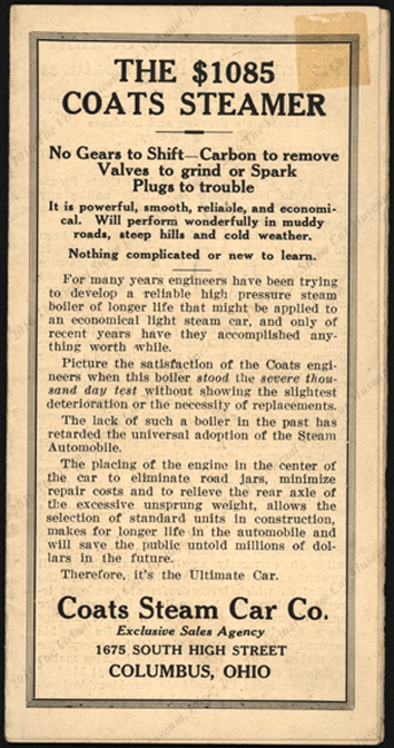 Coats Steam Car Company, ca: 1923, Trade Catalogue, Columbus, OH