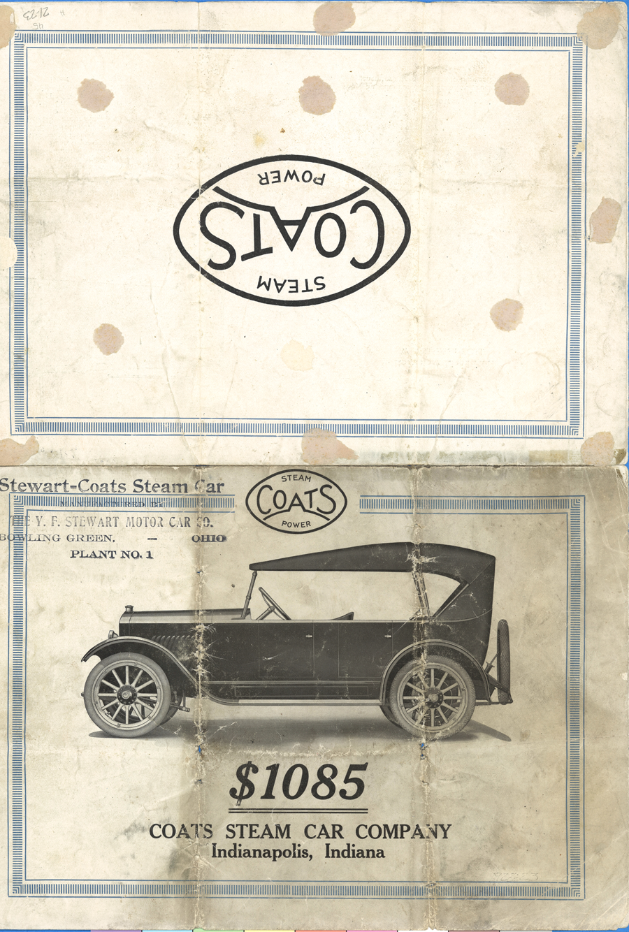 Coats Steam Car Trade Catalogue, 1922 Indianapolis IN Y. F. Stewart