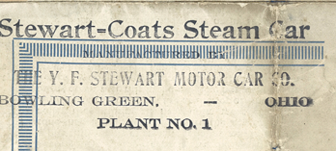 Coats Steam Car Trade Catalogue, 1922 Indianapolis IN Y. F. Stewart Close Up of Stamp
