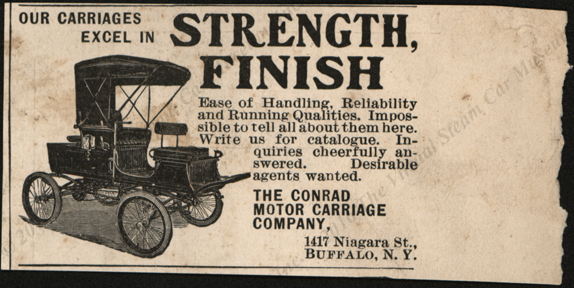 Contad Motor Carriage Company, 1902 unknown magazine advertisement