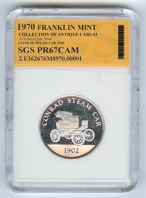 Franklin Mint, Conrad Motor Carriage Company, 1902 Silver Coin, Obverse