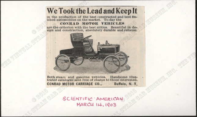 Contad Motor Carriage Company, March 14, 1903, Scientific American Magazine Advertisement, Conde Collection.