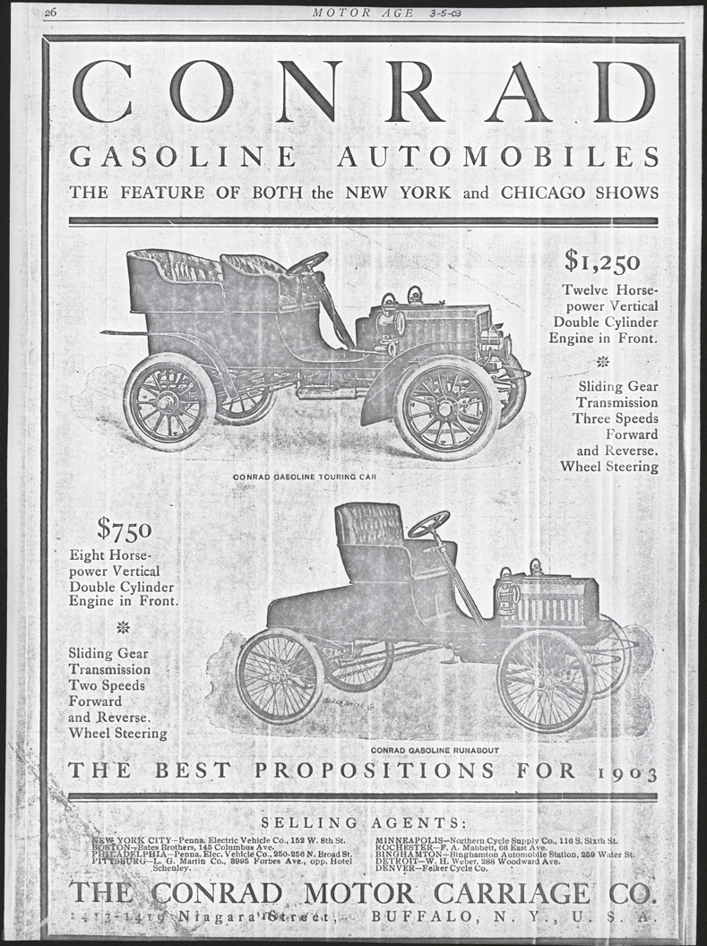 Contad Motor Carriage Company, March 5 ,1903, Motor Age Magazine, p. 26.
