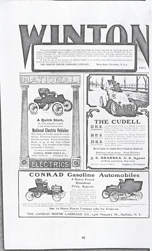 Contad Motor Carriage Company, 1903, Floyd Clyner, page 40.