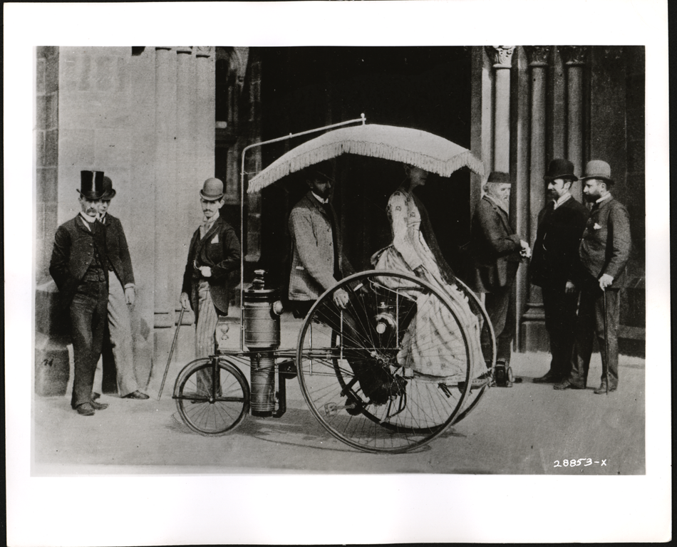 Lucius Copeland Steam Tricycle, 1888, Press Photograph, Front