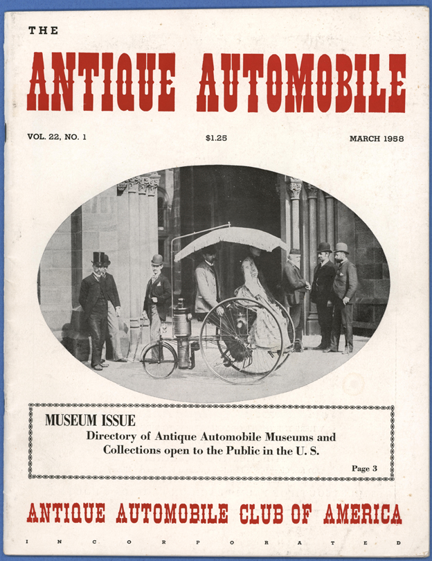 Antique Automobile Club of America Magazine, March 1858, Vol. 22, No. 1.  Photograph of Lucius Copeland's Steam Tricycle