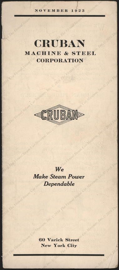 Cruban Machine & Steel Corporation, November 1923 Brochure