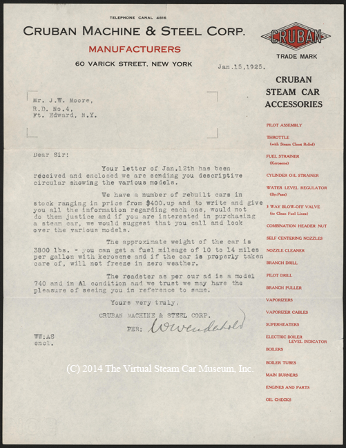 Cruban Machine & Steel Corporation, January 15, 1925, Letter to J. W. Moore