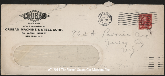 ruban Machine and Steel Corp., June 1, 1925, G. A. Gibson Envelope