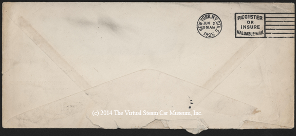 ruban Machine and Steel Corp., June 1, 1925, G. A. Gibson Envelope Reverse