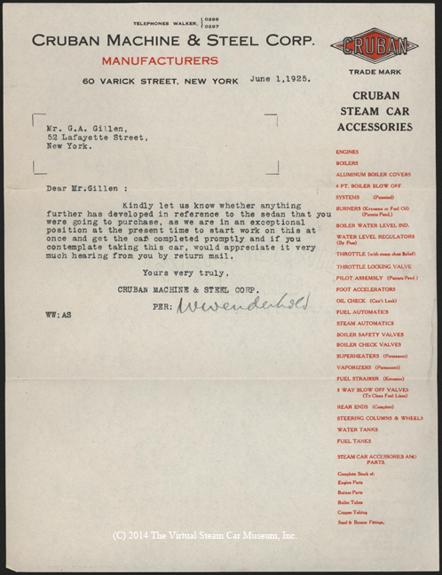 Cruban Machine and Steel Corp., June 1, 1925, G. A. Gibson letter
