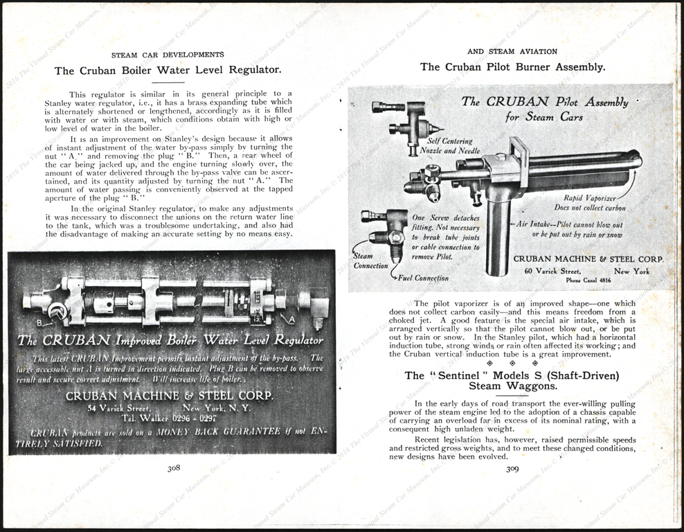 Cruban Machine & Steel Corporation, article in Steam Car developements and Steam Aviation showing two postcards.