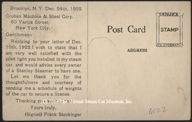 Cruban Machine & Steel Corporation, Pilot Postcard, December 23, 1922, Reverse