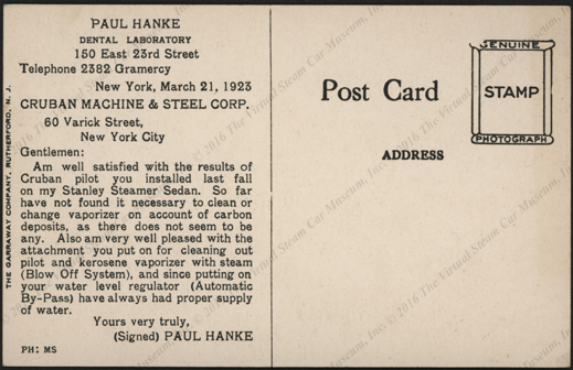 Cruban Machine & Steel Corporation, March  21, 1923, Branch Forks, Pricker, Strainer Postcard Reverse