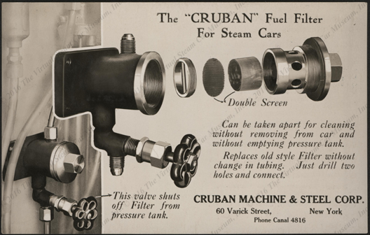 Cruban Machine & Steel Corporation, ca: 1925 Postcard, Cruban Fuel Filter for Steam Cars, Front