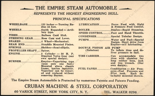 Cruban Machine & Steel Corporation, ca: 1925, Empire Steam  Automovile, Custom Built, Postcard, Reverse