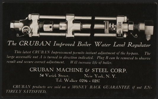 Crubah Machine & Steel Corporation, Postcard, March 2, 1927, Improved Boiler Water Level Regulator, Postcard, Front