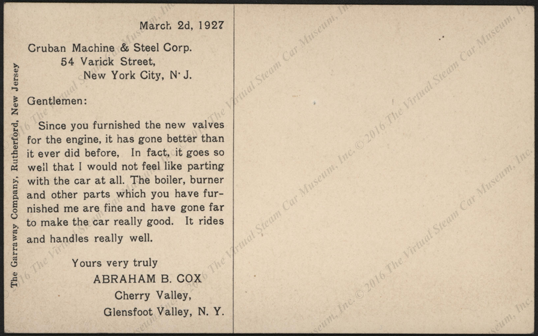 Crubah Machine & Steel Corporation, Postcard, March 2, 1927, Improved Boiler Water Level Regulator, Postcard, Reverse