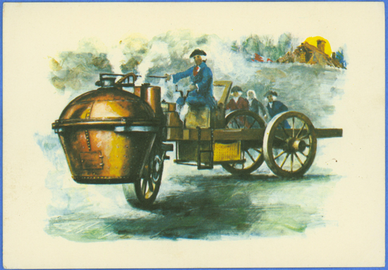 Cugnot Steam Wagon Postcard, Budapest Museum Postcard Front