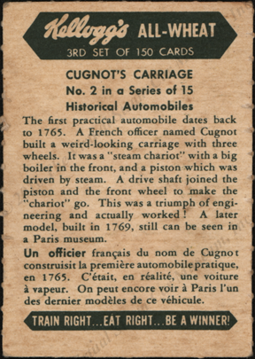 Cugnot Steam Carriage, Kellogg's Cereal Collector Card