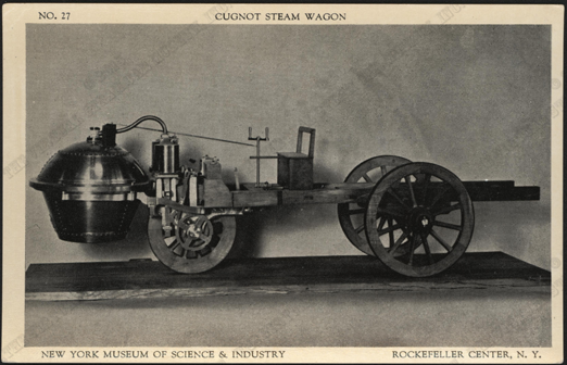 Cugnot Steam Wagon Postcard, New York Museum of Science & Industry, Front