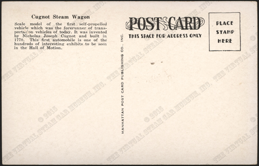 Cugnot Steam Wagon Postcard, New York Museum of Science & Industry, Reverse