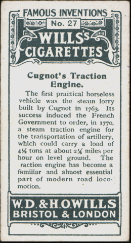 Cugnot Traction Engine, Wills Cigarettes Card Reverse