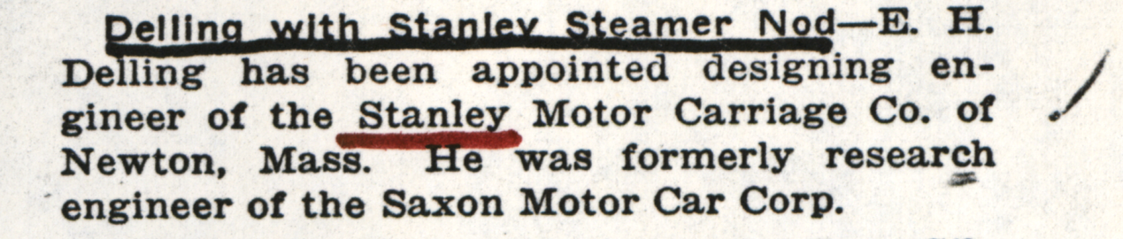 Eric Delling, Engineer for Stanley Motor Carriage Company, February 28,1918, Motor Age, page 47