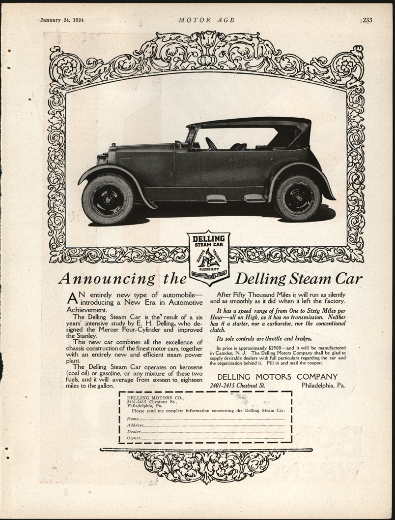 Delling Motors Company, January 24, 1924, Motor Age Magazine Advertisement, Full Page, Page 233