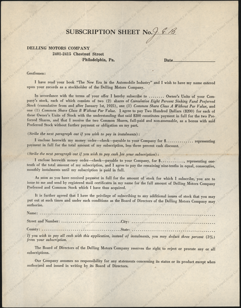 Delling Motors Company Stock Subscription Sheet with envelope, January  1925