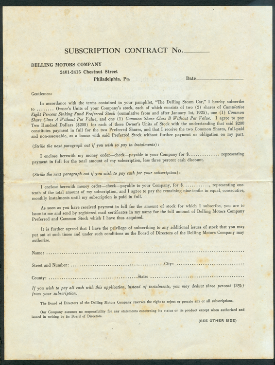 Delling Motors Company, 1925 Stock Solicitation Document Front