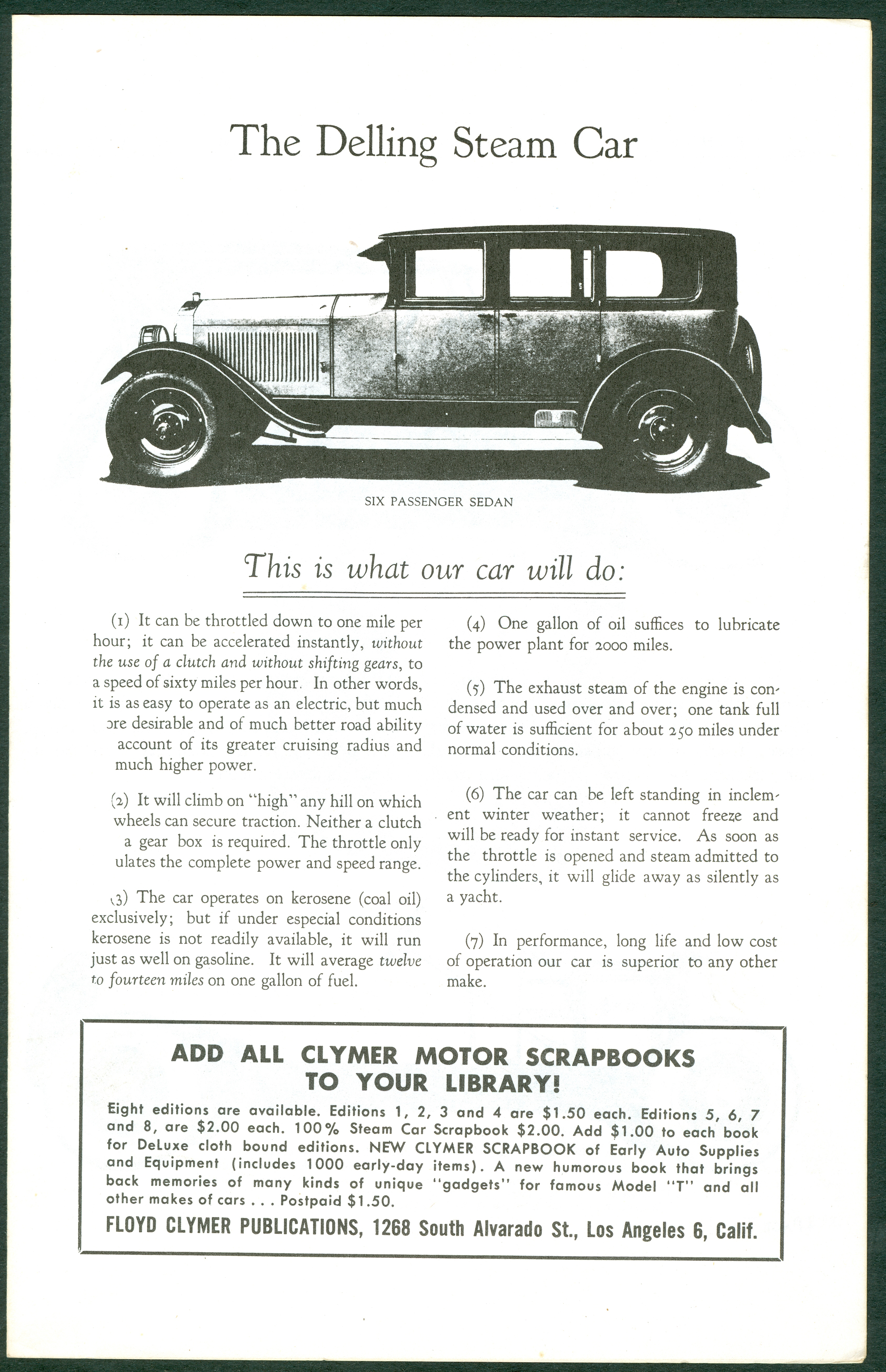 Delling Motors Company booklet assembled by Floyd Clymer p. 1