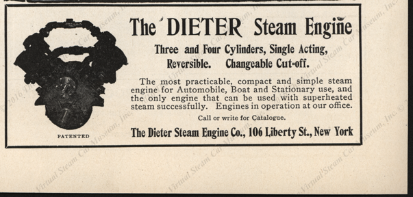 Dieter Steam Engine Magazine Advertisement, November 29, 1905, Horseless Age
