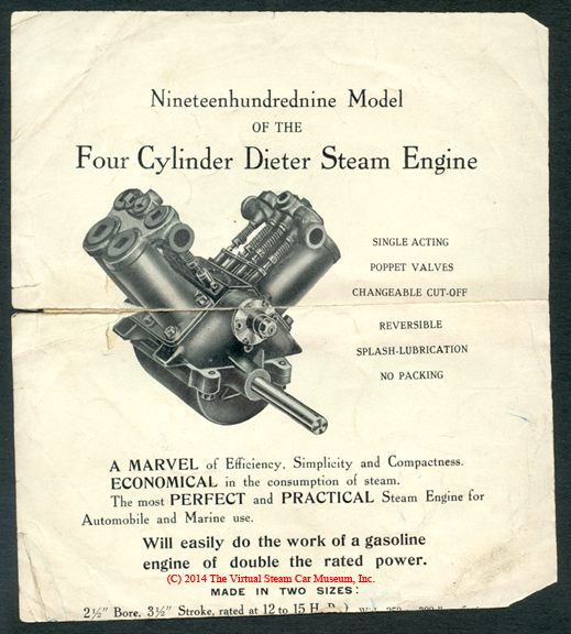 Dieter Steam Engine Company Brochure, 1909, single side