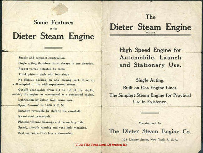 Dieter Steam Engine Company Brochure