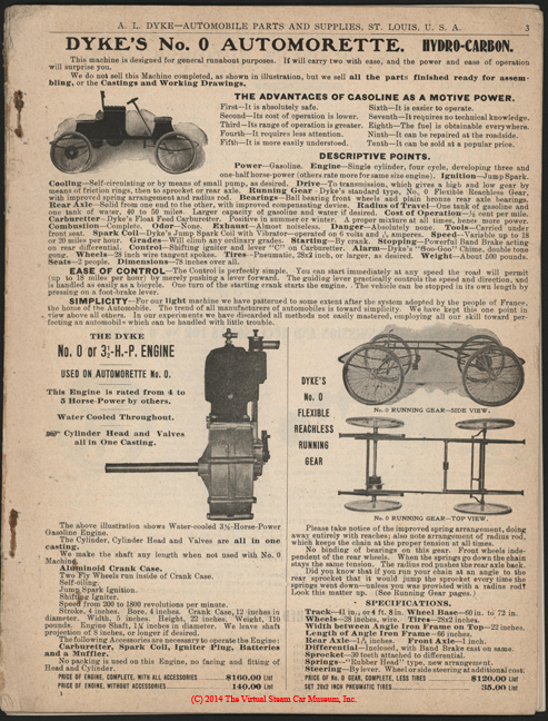 A. L. Dyke Catalogue No. 7, 1902 Steam Car Accessories