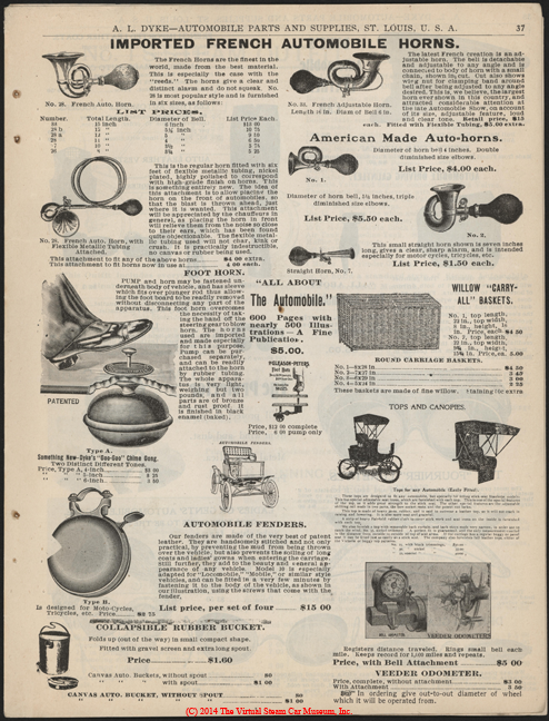 A. L. Dyke Catalogue No. 7, 1902, Steam Car Accessories