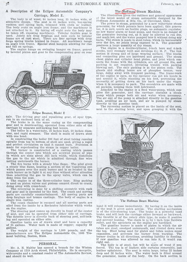 Eclipse Automobile Company, Automobile Review, February 1902, P, 36, Photocopy, Conde Collection.