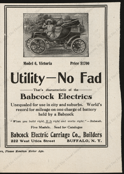 Babcock Electric Carriage Company, Motor Age Magazine Advertisement, 1908.