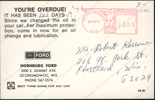 Detroit Electric  Car Postcard, Reverse.