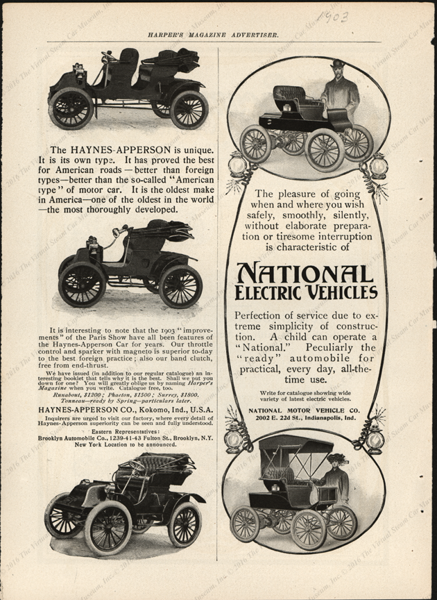 National Electric Vehicles, National Motor Vehicle Company, 1903 Harpers Magazine Advertisement