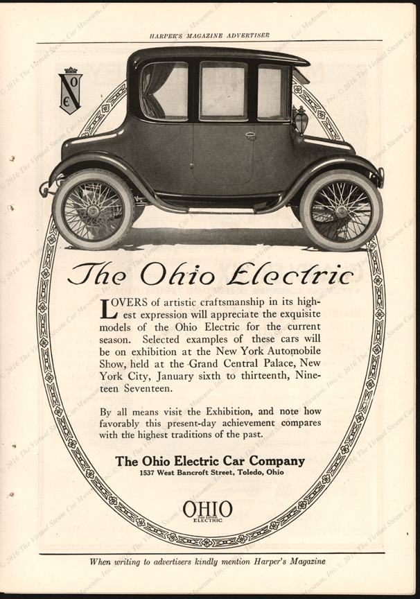 Ohio Electric Car Company, Harper's Magazine advertisement, January 1917
