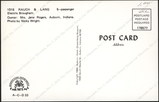 Raunch and Lang Electric Car Postcard , Reverse