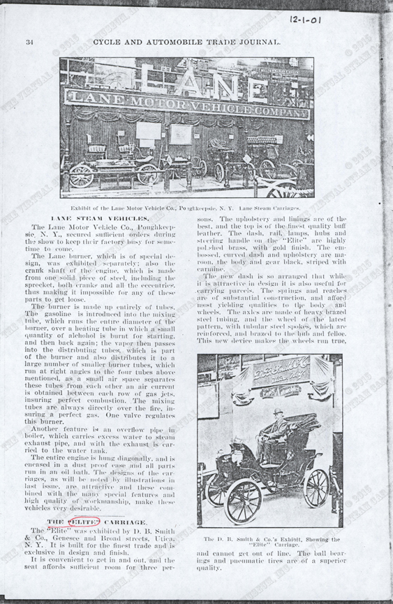 Elite Steam Carriage, D. B. Smith & Company, December 1901, Cycle and Automobile Trade Journal, p. 34, photocopy, Conde Collection.