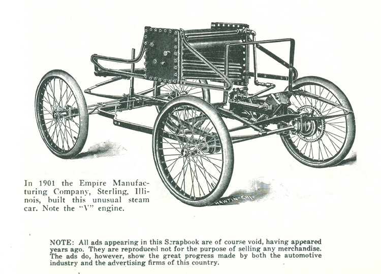 Empire Manufacturing Steam Car, copied from Floyd Clymer