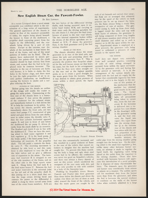 Fawcett-Fowler Steam Car, The Horseless Age, March 6, 1907, Vol. 19, No. 10, p. 323